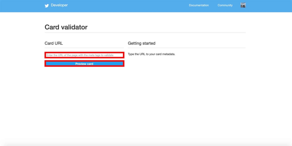 Card Validatorのトップページ