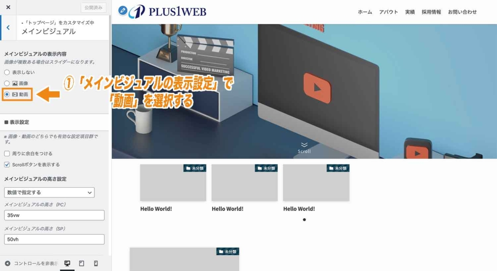 SWELLでメインビジュアルに動画を設定する際の設定方法1